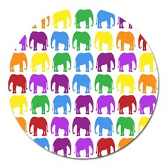 Rainbow Colors Bright Colorful Elephants Wallpaper Background Magnet 5  (round) by Simbadda