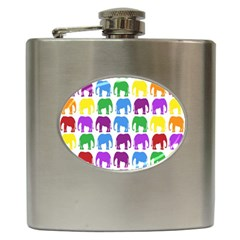 Rainbow Colors Bright Colorful Elephants Wallpaper Background Hip Flask (6 Oz) by Simbadda