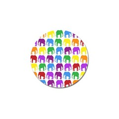Rainbow Colors Bright Colorful Elephants Wallpaper Background Golf Ball Marker (4 Pack) by Simbadda