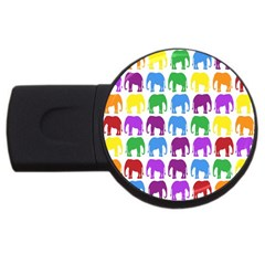 Rainbow Colors Bright Colorful Elephants Wallpaper Background Usb Flash Drive Round (2 Gb) by Simbadda