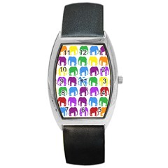 Rainbow Colors Bright Colorful Elephants Wallpaper Background Barrel Style Metal Watch by Simbadda