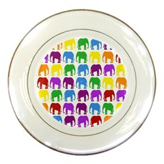 Rainbow Colors Bright Colorful Elephants Wallpaper Background Porcelain Plates by Simbadda