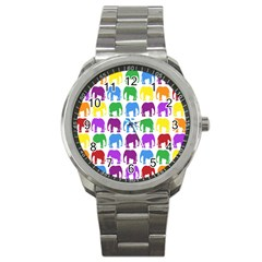 Rainbow Colors Bright Colorful Elephants Wallpaper Background Sport Metal Watch by Simbadda