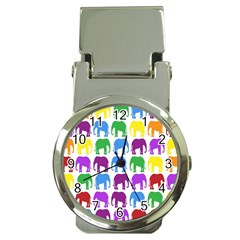 Rainbow Colors Bright Colorful Elephants Wallpaper Background Money Clip Watches by Simbadda