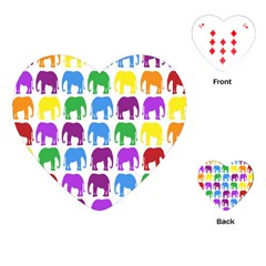 Rainbow Colors Bright Colorful Elephants Wallpaper Background Playing Cards (heart)  by Simbadda