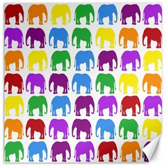 Rainbow Colors Bright Colorful Elephants Wallpaper Background Canvas 12  X 12   by Simbadda