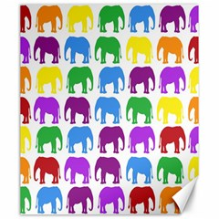 Rainbow Colors Bright Colorful Elephants Wallpaper Background Canvas 20  X 24   by Simbadda