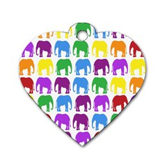 Rainbow Colors Bright Colorful Elephants Wallpaper Background Dog Tag Heart (one Side) by Simbadda