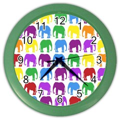 Rainbow Colors Bright Colorful Elephants Wallpaper Background Color Wall Clocks by Simbadda