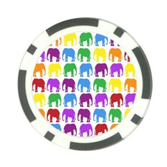 Rainbow Colors Bright Colorful Elephants Wallpaper Background Poker Chip Card Guard by Simbadda