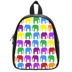 Rainbow Colors Bright Colorful Elephants Wallpaper Background School Bags (small)  by Simbadda