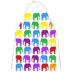 Rainbow Colors Bright Colorful Elephants Wallpaper Background Full Print Aprons by Simbadda