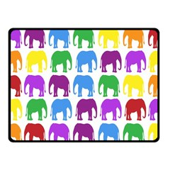 Rainbow Colors Bright Colorful Elephants Wallpaper Background Fleece Blanket (small) by Simbadda