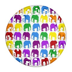 Rainbow Colors Bright Colorful Elephants Wallpaper Background Round Filigree Ornament (two Sides) by Simbadda
