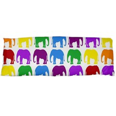 Rainbow Colors Bright Colorful Elephants Wallpaper Background Body Pillow Case (Dakimakura)