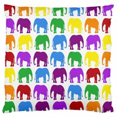 Rainbow Colors Bright Colorful Elephants Wallpaper Background Large Cushion Case (Two Sides)