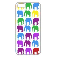 Rainbow Colors Bright Colorful Elephants Wallpaper Background Apple Seamless Iphone 5 Case (clear) by Simbadda