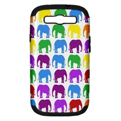 Rainbow Colors Bright Colorful Elephants Wallpaper Background Samsung Galaxy S Iii Hardshell Case (pc+silicone) by Simbadda