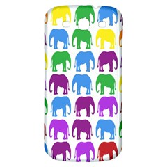 Rainbow Colors Bright Colorful Elephants Wallpaper Background Samsung Galaxy S3 S Iii Classic Hardshell Back Case by Simbadda