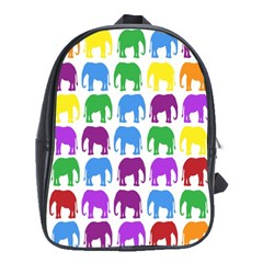 Rainbow Colors Bright Colorful Elephants Wallpaper Background School Bags (xl)  by Simbadda