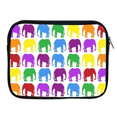 Rainbow Colors Bright Colorful Elephants Wallpaper Background Apple Ipad 2/3/4 Zipper Cases by Simbadda