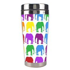 Rainbow Colors Bright Colorful Elephants Wallpaper Background Stainless Steel Travel Tumblers by Simbadda