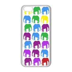 Rainbow Colors Bright Colorful Elephants Wallpaper Background Apple Iphone 5c Seamless Case (white) by Simbadda