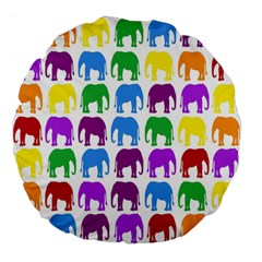 Rainbow Colors Bright Colorful Elephants Wallpaper Background Large 18  Premium Flano Round Cushions by Simbadda