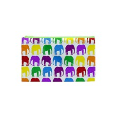 Rainbow Colors Bright Colorful Elephants Wallpaper Background Cosmetic Bag (xs) by Simbadda