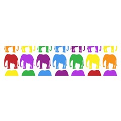 Rainbow Colors Bright Colorful Elephants Wallpaper Background Satin Scarf (oblong) by Simbadda