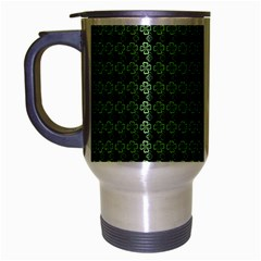 Clovers On Black Travel Mug (silver Gray) by PhotoNOLA