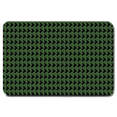 Clovers On Black Large Doormat  by PhotoNOLA