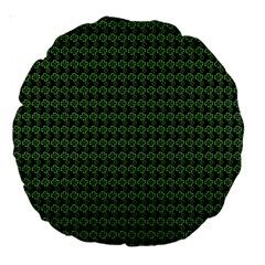 Clovers On Black Large 18  Premium Round Cushions by PhotoNOLA