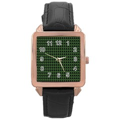 Clovers On Black Rose Gold Leather Watch  by PhotoNOLA
