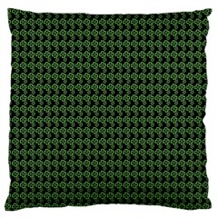 Clovers On Black Large Flano Cushion Case (two Sides) by PhotoNOLA
