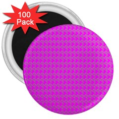 Clovers On Pink 3  Magnets (100 Pack) by PhotoNOLA