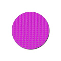 Clovers On Pink Rubber Coaster (round)  by PhotoNOLA