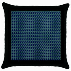 Clovers On Dark Blue Throw Pillow Case (black)