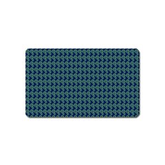 Clovers On Dark Blue Magnet (name Card) by PhotoNOLA