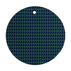 Clovers On Dark Blue Round Ornament (two Sides) by PhotoNOLA