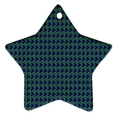 Clovers On Dark Blue Star Ornament (two Sides) by PhotoNOLA