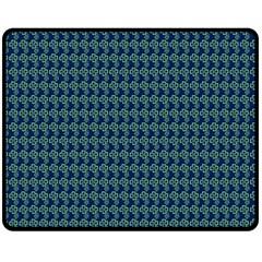 Clovers On Dark Blue Fleece Blanket (medium)  by PhotoNOLA