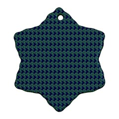 Clovers On Dark Blue Snowflake Ornament (two Sides) by PhotoNOLA