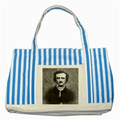 Edgar Allan Poe  Striped Blue Tote Bag by Valentinaart