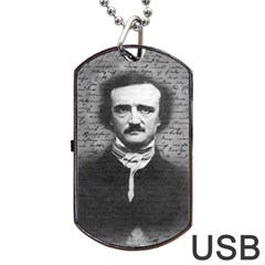 Edgar Allan Poe  Dog Tag Usb Flash (one Side) by Valentinaart