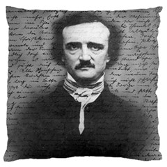 Edgar Allan Poe  Large Cushion Case (one Side) by Valentinaart