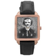 Edgar Allan Poe  Rose Gold Leather Watch  by Valentinaart