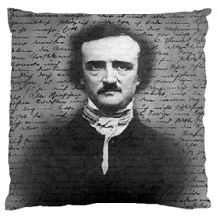 Edgar Allan Poe  Large Flano Cushion Case (one Side) by Valentinaart