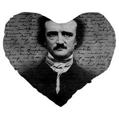 Edgar Allan Poe  Large 19  Premium Flano Heart Shape Cushions by Valentinaart