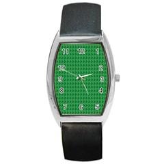 Clovers On Dark Green Barrel Style Metal Watch by PhotoNOLA